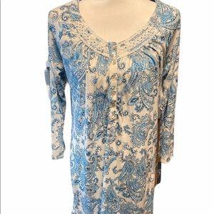 Aria blue paisley nightgown super soft size medium